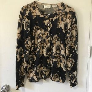 Neiman Marcus Floral cashmere cardigan